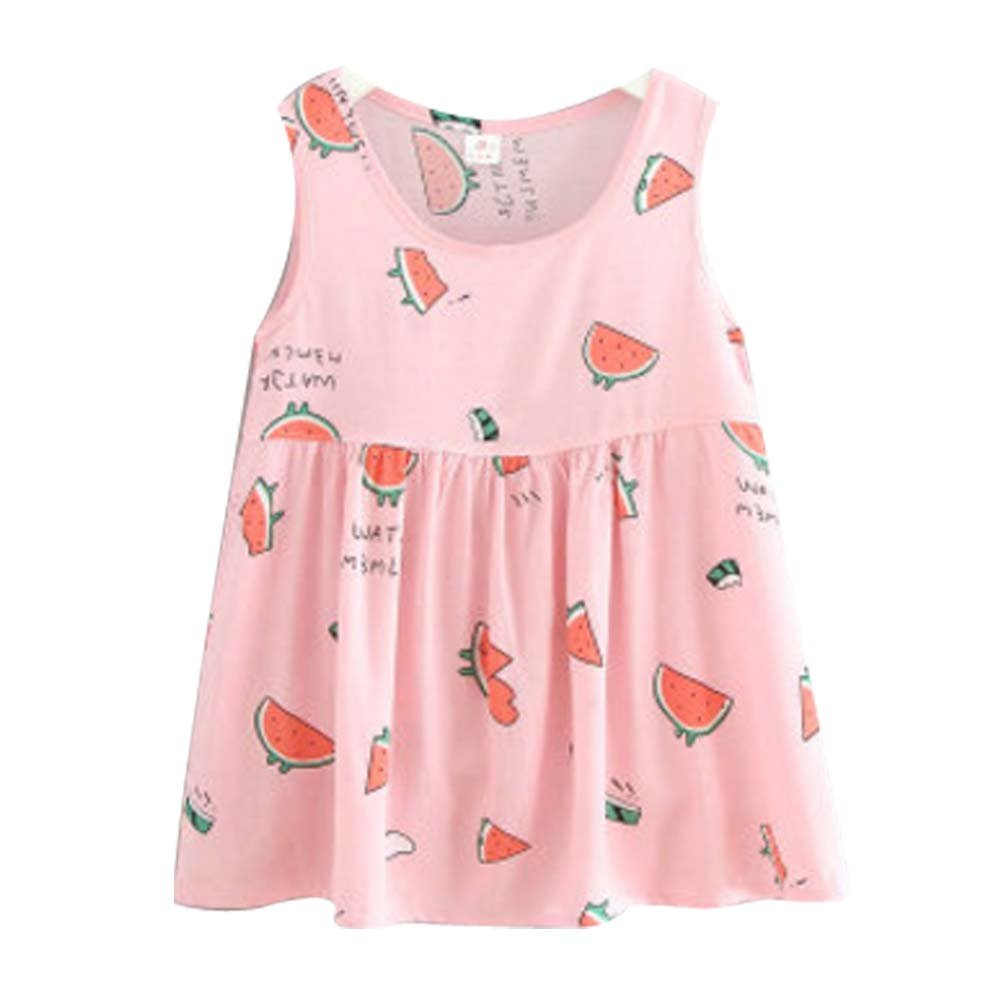Koala Superstore [T] Kids' Pajama Home Nightdress Sleeveless Cotton Dress Vest Skirt for Girls