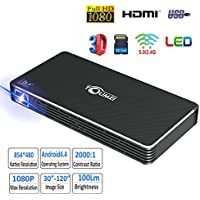 Toumei C800s Mini DLP Portable Pico Video Projector Android Wi-Fi Bluetooth Office Projector Outdoor/Indoor Home Projector Support 1080P LED Projector for Home/Theater/Movie/Video Games Black