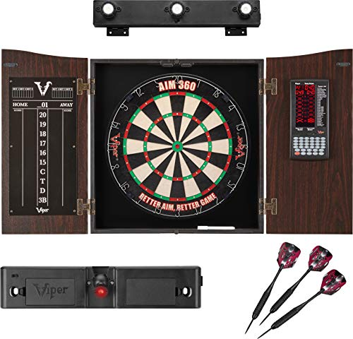 Viper Vault Deluxe Dartboard Cabinet with Integrated Pro Score, AIM 360 Sisal Dartboard, Laser Dart Throw Line, Shadow Buster, and Black Mariah Steel Tip Darts, Mahogony Finish
