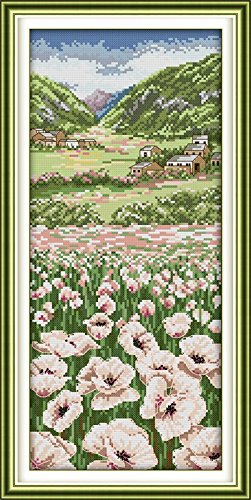 "Good Value Cross Stitch Kits Beginners Kids Advanced -Poppy Fields 11 CT 11""X22"", DIY Handmade Needlework Set Cross-Stitching Accurate Stamped Patterns Embroidery Home"