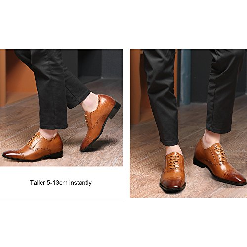 CHAMARIPA height Increasing Elevator Shoes 2.76 Taller Men Wingtip Oxford Dress Shoes K6531-1 Brown Waxing Leather UUMN2A40j