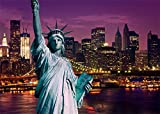 Leowefowa 7X5FT Vinyl Statue of Liberty Backdrop American New York Cityscape Night View Modern Building Shining Lights River Romantic Wallpaper Wedding Photography Background Lover Photo Studio Props