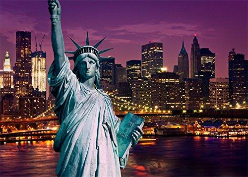 Leowefowa 7X5FT Vinyl Statue of Liberty Backdrop American New York Cityscape Night View Modern Building Shining Lights River Romantic Wallpaper Wedding Photography Background Lover Photo Studio Props