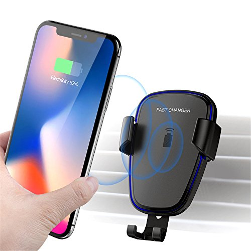 Wireless Car Charger, Wireless Fast Car Mount, 2 in 1 Phone Holder, Fast Charging for Samsung Galaxy S9, S9 Plus, S8, S8 Plus,Note 8, Note 5, Standard Charging for iPhone X, iPhone 8, iPhone 8 Plus by Top Super