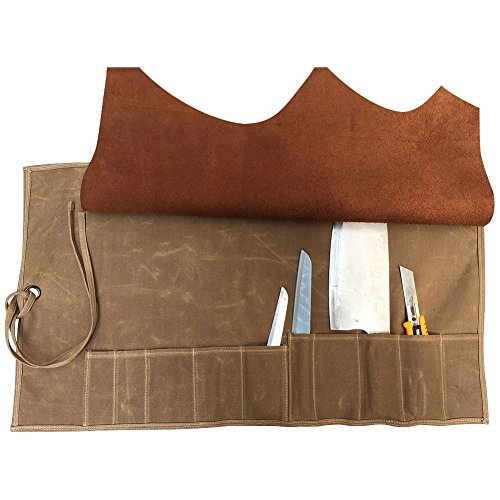 Handmade Waterproof Chef's Knife Storage Bag Waxed Canvas All Purpose Knife Roll Bag Pouch with 10 pockets Leather Cover Flap & Wrap String HGJ03-C