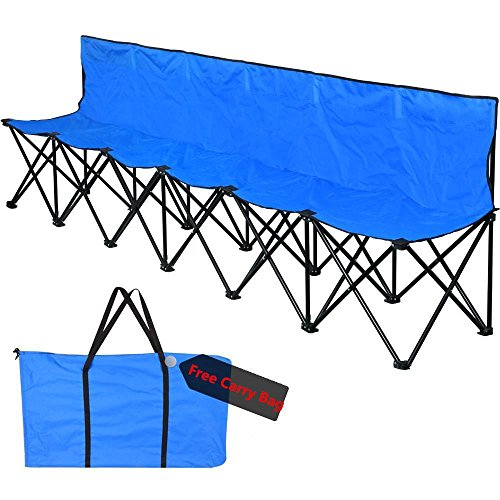 Topeakmart High Qulity Steel Frame Oxford 6 Seater Bench Sport Sideline Bench---Foldable (Steel Frame Sports Seat)