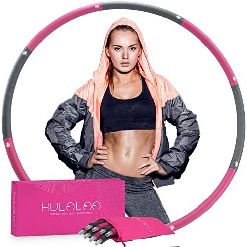 HULALAA Hula Hoops for Adults Weight Loss, Weighted Hula Hoop for Exercise and Fitness, 8 Sections Adjustable Weights, Weighted Hoola Hoop for Adults and Home Workout 1