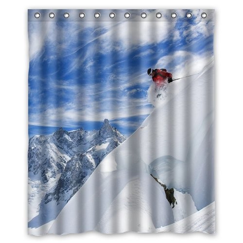Image Unavailable Not Available For Color Skiing Snowboarding Shower Curtain