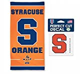 NCAA Syracuse University Orange 30 x 60 inch Towel and 4 x 4 inch Perfect Cut Decal SET