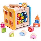 rolimate Multi-function Preschool Early Educational Development Wooden Puzzles Toy Box, Best Birthday Gift Toy for Age 3 4 5 Child Kids Toddlers Baby Boys Girls ( Activity Centers Game)