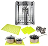 Ariel ARL-R1620 Premium 16 Inch Bar Package by Ariel-16 Gauge Undermount Single Bowl Basin-Complete Sink Pack + Bonus Kitchen Accessories-Ideal for Home Improvement, Renovation, Stainless Steel
