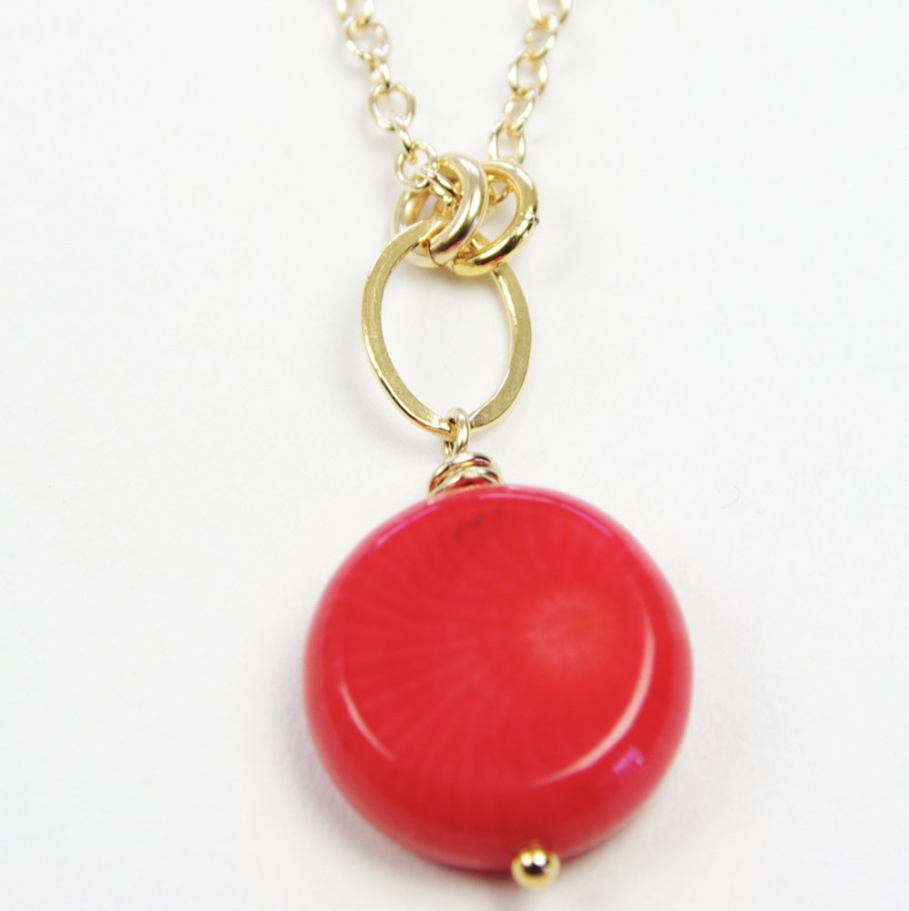 Red Coral Necklace Classic Small Pendant Delicate 14kt Gold Filled Chain 35th Wedding Anniversary