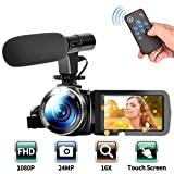 Video Camera Camcorder, Digital Vlogging Camera Recorder FHD 1080P 30FPS 24MP 3.0 Inch Touch Screen 16X Digital Zoom Camera for YouTube with Microphone and Remote