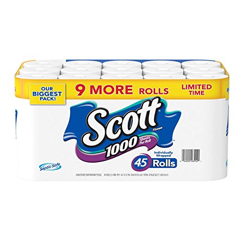 Scott 1000 45-1000 Limited Edition Bath Tissue (1,000 Sheets, 45 Rolls), White