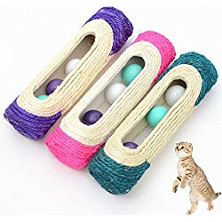 Efanr Cat Toys Rolling Sisal Scratching Post Trapped with 3 Balls Kitten Kitty Pet Wear-resistant Training Funny Toys (1Pcs, Random Color)