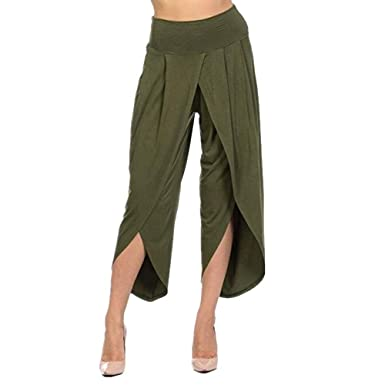 Sommerhosen Damen Leicht Bequeme High Waist Weite Hosen Elegante Loose  Irregular Asymmetrisch Fashion Einfarbig Wide Leg Pants Mädchen Kleidung ... cf636efc5b