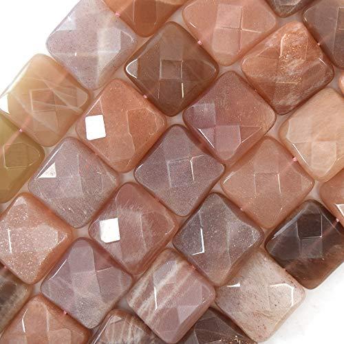 ShopForAllYou Design Making 18mm Faceted Sunstone Flat Square Beads 15