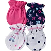 Gerber Baby Girls 4 Pack Mittens, Princess, 0-3 Months