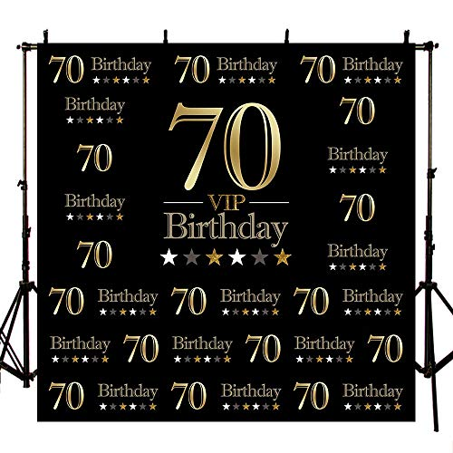 MEHOFOTO Black Photo Studio Booth Background VIP Happy 70th Birthday Party Stars Banner Backdrops for Photography -
