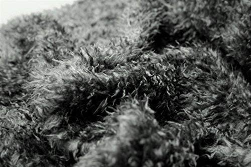 CURLY Teddy Faux Fur Fabric Material DARK GREY