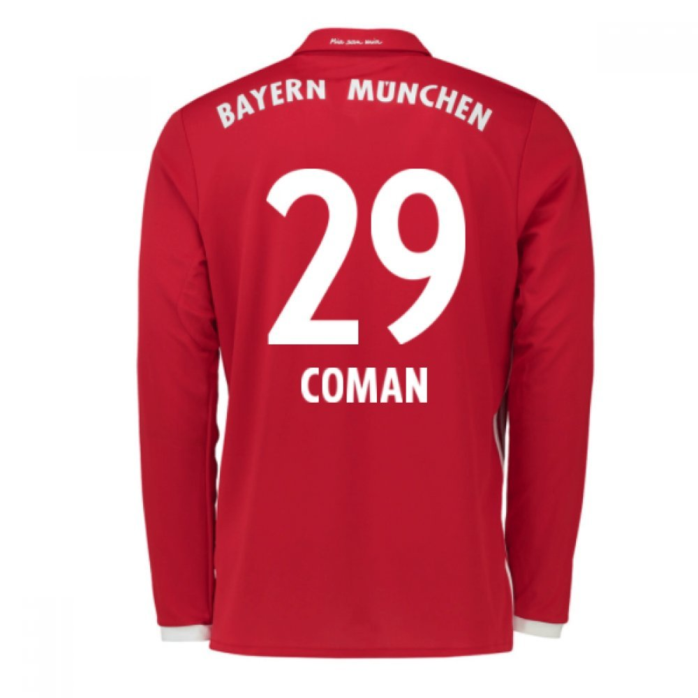 2016-17 Bayern Munich Long Sleeve Home Shirt (Coman 29) B077Z1M28FRed Small 36-38\