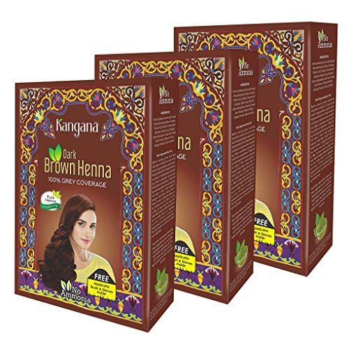 - Kangana Henna Powder for Hair Dye/Colour - Dark Brown Henna Powder for 100% Grey Coverage- 6 Pouches Each - Total 180g (6.34 Oz)- Pack of 3
