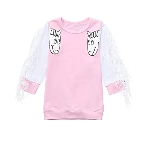 Toddlers Infant Baby Girls Cotton T-Shirt Princess Lace Sleeve Tops Kids Clothes