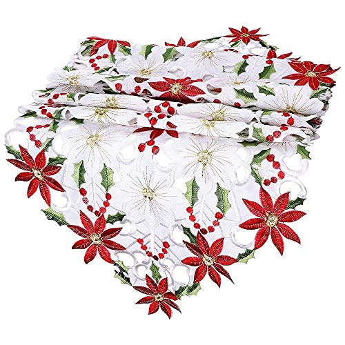 YaidaChristmas Embroidered Table Runner Poinsettia Holly Leaf Table Linens Decoration (Holiday Holly Decor Wrap)