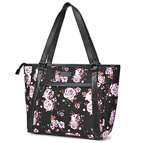 (15.6 Inch Laptop Tote Bag Lightweight Stylish Satchel for Women Durable Nylon Travel Bag Casual Shopping Handbag Large Capacity Business Briefcase Multi-function Zipper Shoulder Bag,Black Rose)