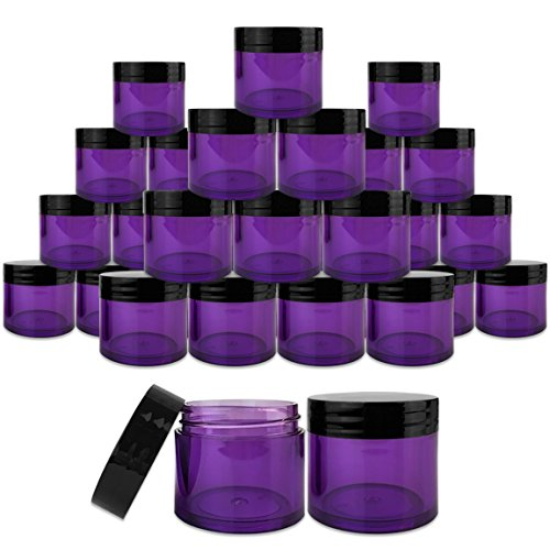 Beauticom 30 Pieces 30G/30ML(1 Oz) Thick Wall Round PURPLE CLEAR Plastic Container Jars with Black Flat Top Lids - Leak-Proof Jar - BPA Free
