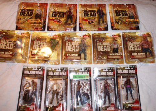 The Walking Dead Series One Action Figures Set of 4 (Brown Box) Daryl Dixon, Rick Grimes, Zombie Walker and Zombie Biter (13+)