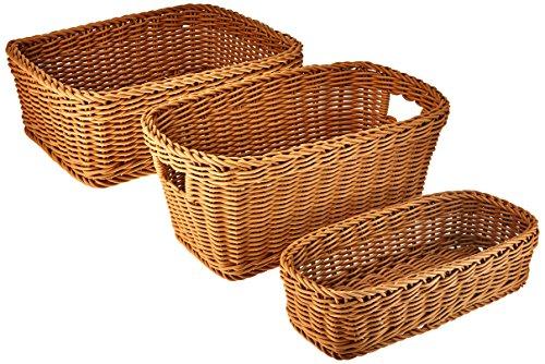 Seville Classics Nesting Wicker Weave Storage Basket Set 3-Piece, Light - Cracker Basket