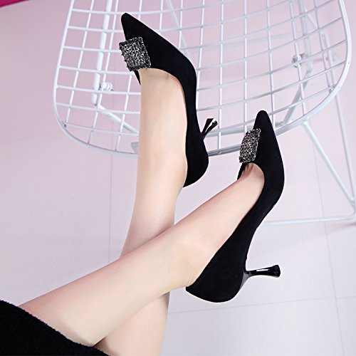 GTVERNH-Diamond Metal Fibbia Superficiale Bocca Scarpe Col Tacco Alto 7Cm Singolo Femminile Coreano Primavera Sono Le Scarpe Scarpe Nuove Con Un Sottile 36 Black