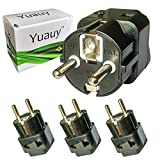 Yuauy 3 PCs 2 in 1 America US USA to EU Europe Euro Charger Adapter Wall Plug Power Jack Converter for Germany France Europe Russia Grounded Travel Home Black
