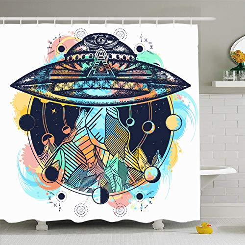 (Ahawoso Shower Curtain 72x72 Inches Surrealism Watercolor Aliens UFO Ship Mountains Color Tattoo Parks Space Astrology Camping Fantasy Waterproof Polyester Fabric Set with Hooks)