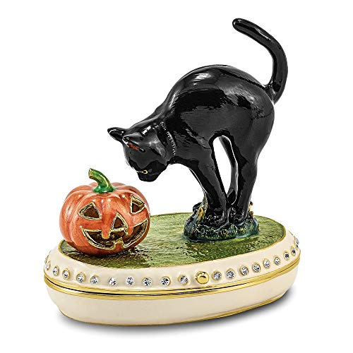 Jere Luxury Giftware Bejeweled Spooky Black Cat & Pumpkin, Pewter with Enamel Collectible Trinket Box with Matching Pendant Necklace ()