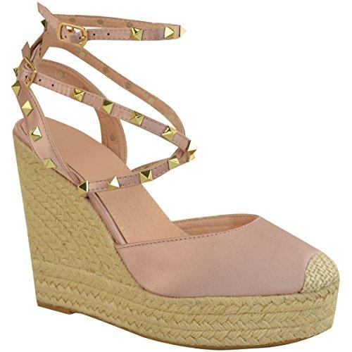 Fashion Thirsty heelberry Mujer Cuña con tachuelas Sandalias Tacón Alto Tiras Plataformas NUEVOS Zapatos Talla claro rosa pastel Satén