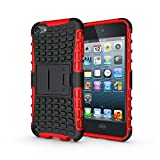 IPod Touch 5/6 Case, LUOLNH 2 in 1 Hybrid Armor Cover Tough Protective Hard Kickstand Phone Case for Apple iPod touch 5th/6th Generation(Red)