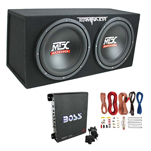 (MTX TNE212D 12-Inch 1200W Dual Loaded Subwoofer Box + Amplifier & Wiring)