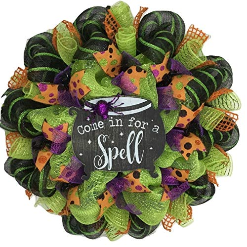 Come In For A Spell Handmade Deco Mesh Halloween -