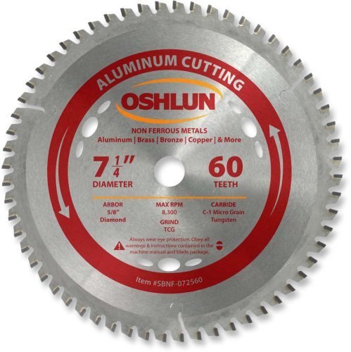 - Oshlun SBNF-072560 7-1/4-Inch 60 Tooth TCG Saw Blade with 5/8-Inch Arbor (Diamond Knockout) for Aluminum and Non Ferrous Metals