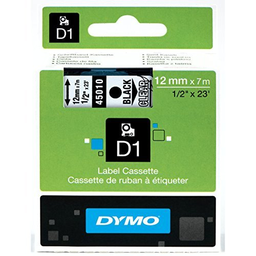 DYMO High-Performance Permanent Self-Adhesive D1 Polyester Tape for Label Makers, 1/2-inch, Black Print on Clear, 23-foot Cartridge (1838816) by DYMO