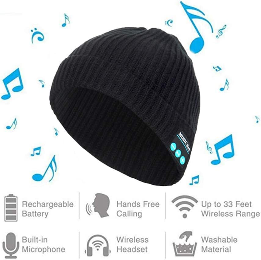 Unisex Music Cap USB Charging for Sports Running Walking Ski Camping Bike Gifts Bluetooth Beanie with Headphone Wireless Music Hat Cap Black