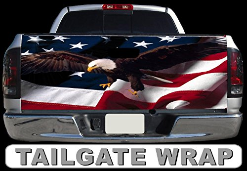 (Tailgate Wrap T195 American Flag Eagle Vinyl Graphic Decal Sticker F150 F250 F350 Ram Silverado Sierra Tundra Ranger Frontier Titan Tacoma 1500 2500 3500 Bed Cover)