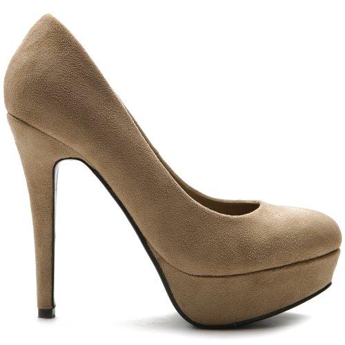 Ollio Women's Platform Shoe Stiletto Faux Suede Classic High Heel Multi Color Pump ZM12006 (7 B(M) US, Taupe) (5 Inch Heel Classic Pump)