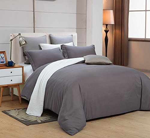 Word of Dream Brushed Microfiber 3 PC Solid Duvet Cover Set,