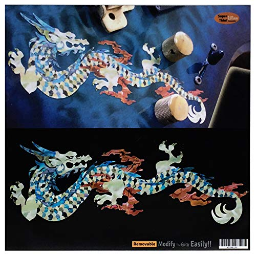 (Fire Dragon (White Pearl) Inlay Sticker Decals for Guitar & Bass )