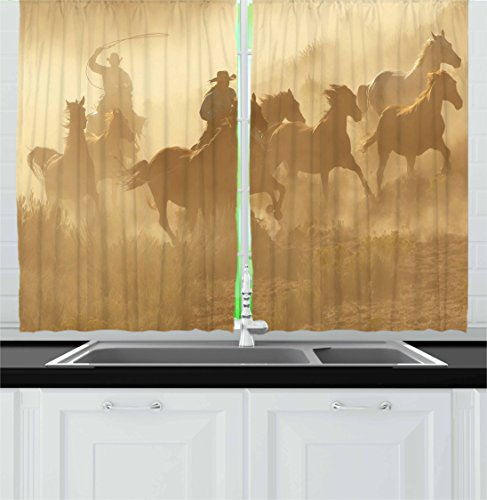 Ambesonne Western Kitchen Curtains, Galloping Running Horses in Desert Two Cowboys Roping Dusty Wild Rural Countryside, Window Drapes 2 Panel Set for Kitchen Cafe, 55 W X 39 L Inches, - Kitchen Western Pictures