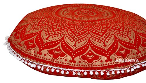 "ANJANIYA - 32"" Mandala Bohemian Yoga Meditation Floor Pillow Cover Comfortable Home Car Bed Sofa Cushion Couch Seating Large Zipped Throw Hippie Decorative Ottoman Boho Indian (Red Gold Ombre-1)"