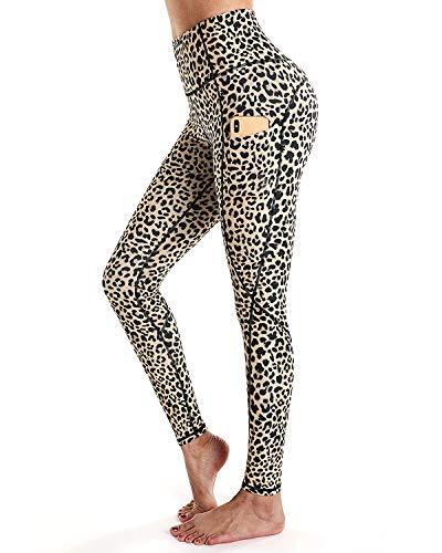 STYLEWORD Women's Leopard Pattern Print Yoga Pants High Waist Full-Length Leggings with Pocket(Leopard-19084,XL)